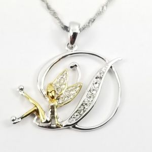 """Tinkerbell Initial """"D"""" Pendant and Chain"""